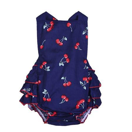 Baby Bodysuits + sleeveless Cherry Jump Summer-GKandaa.net