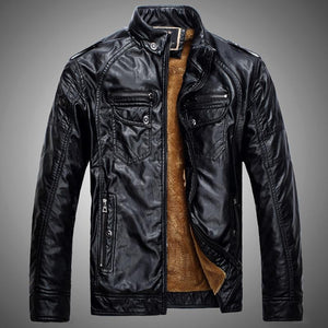 Men's Faux Leather Jackets Short Conventional-GKandaa.net
