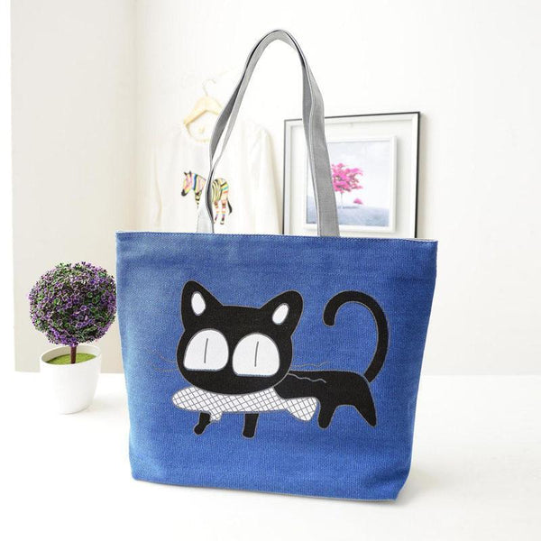 Beach bags Famous Cat Large Shoulder Tote-GKandaa.net