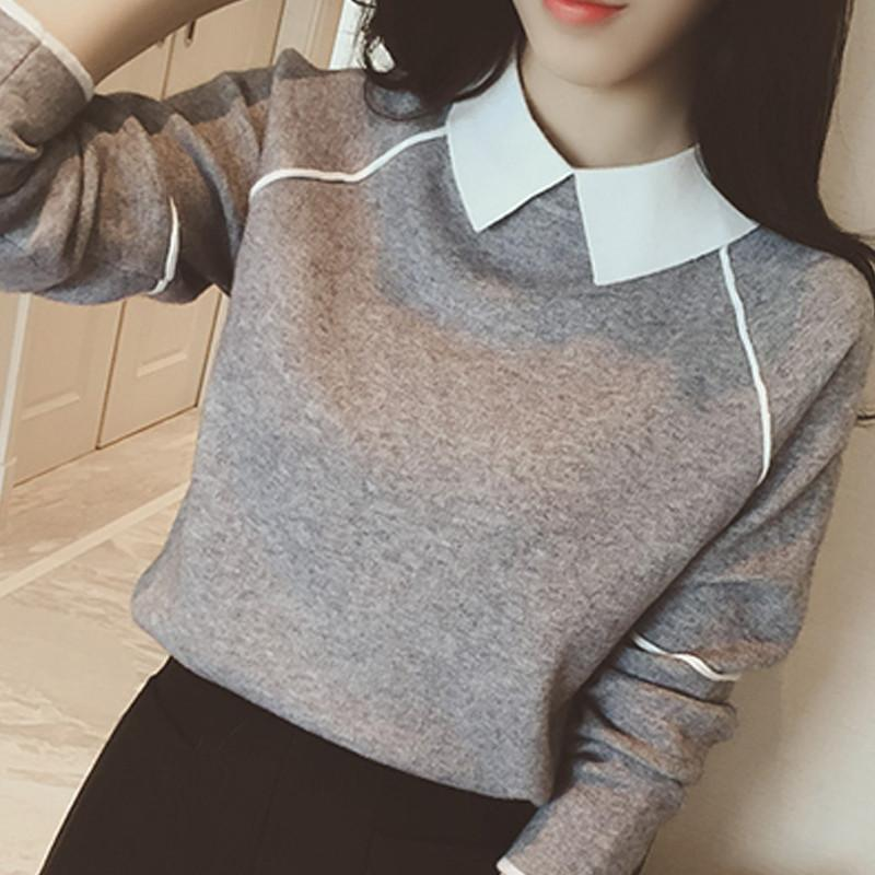 Women's Pullovers cotton Spell Color Doll Collar Casual Sweater-GKandaa.net