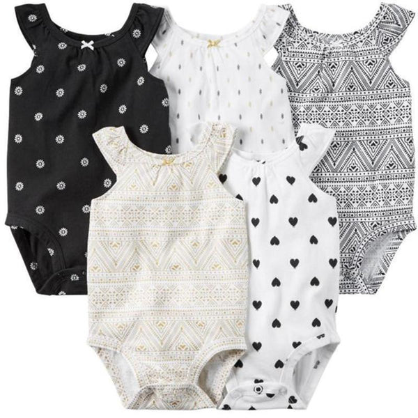 Baby Bodysuits 5 Pieces/Lot sleeveless Jump Solid V49-GKandaa.net