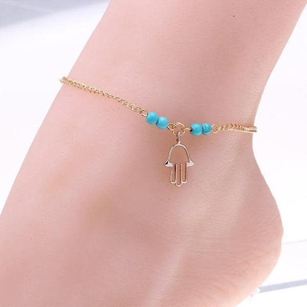 Women's Anklets Double Rows Hollow Rose For Ankle-GKandaa.net