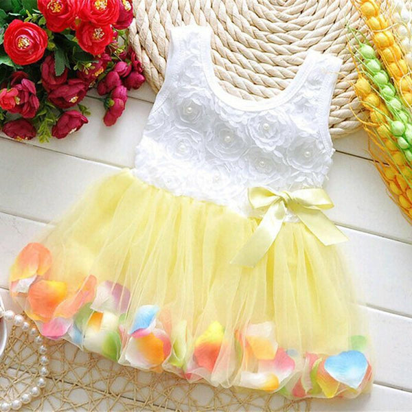 Baby Dress Summer Colorful Mini Petal Hem Princes-GKandaa.net