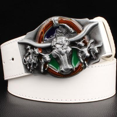 Men's Belts leather Wester cowboy PU metal hip hop-GKandaa.net