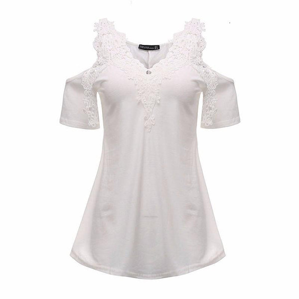 Women's Blouses Lace Blouse cotton off shoulder V-neck Sleeve-GKandaa.net