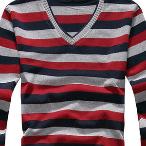 Men's Sweaters cotton Stripes Pullover 2XL-GKandaa.net