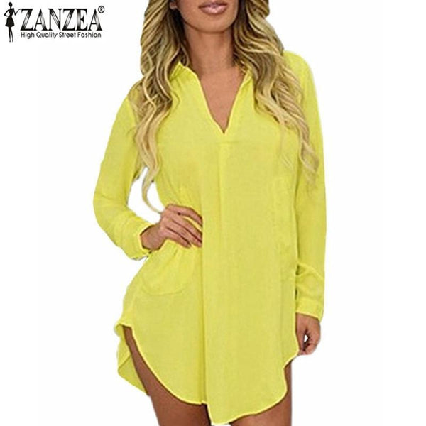 Women's Blouses Shirts Look Long Spring Long Sleeve Collar Mini-GKandaa.net