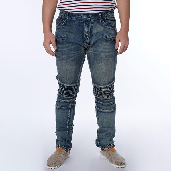Men's Jeans pants Solid Bier Casual Ripped Male Pencil pants-GKandaa.net