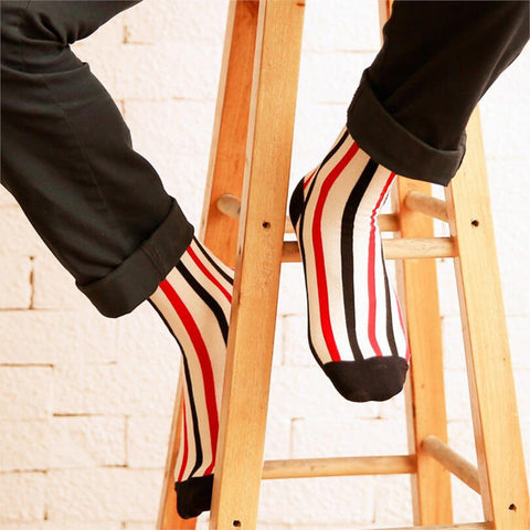Men's Socks Vertical Stripes Hit Color Business cotton Long-GKandaa.net