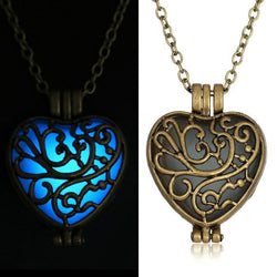 Antique Pendant Necklaces Glow In The Dark suspension Locket copper Hollow Glowing Stone necklace Heart Statement Choker Women - GKandAa - 1