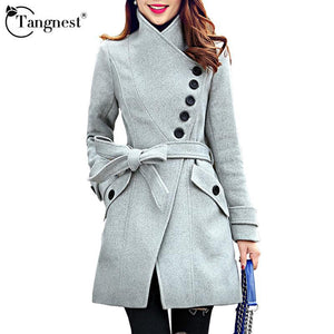 Women Trench TANGNEST Coat Sigle Breasted Belt Coats WWN865-GKandaa.net