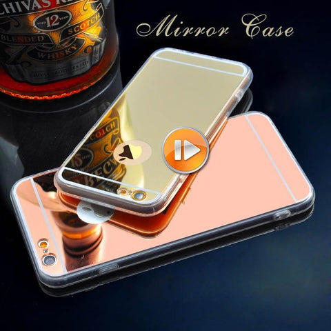 Case Cover for iPhone I 6 Soft Gold Mirror 6 6S 5 5S 6Plus s F00091-GKandaa.net