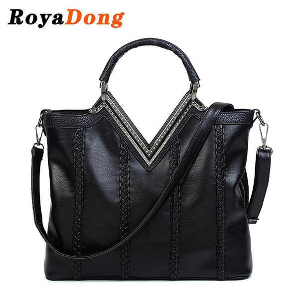 Shoulder Bags PU Leather Weave vintage Tote Handbags-GKandaa.net