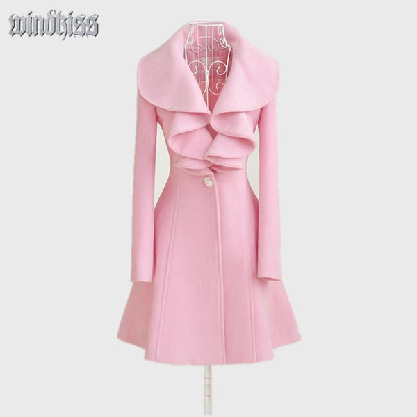 Women Fashion Trench Spring Coat  Wool  Lapel Outerwear-GKandaa.net