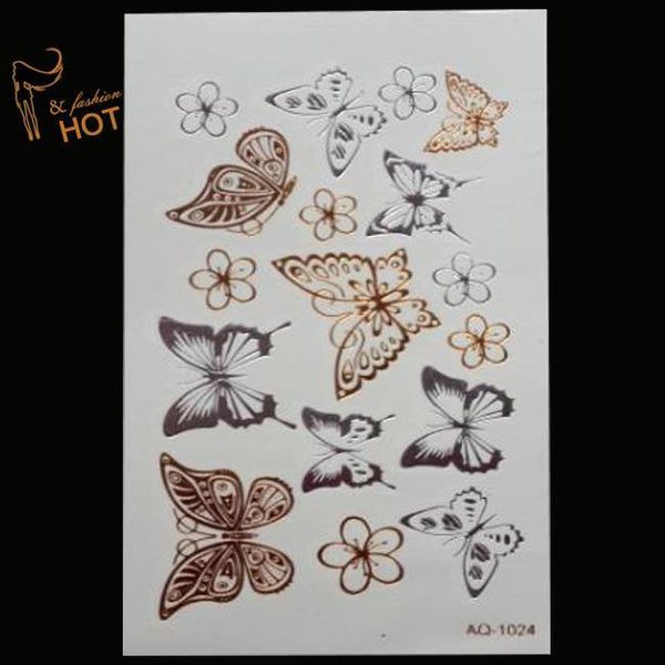 Gold and silver Butterfly Tattoo Stickers Body Art Temporary Flash Waterproof Painting Glitter Metal Tatoo - GKandAa