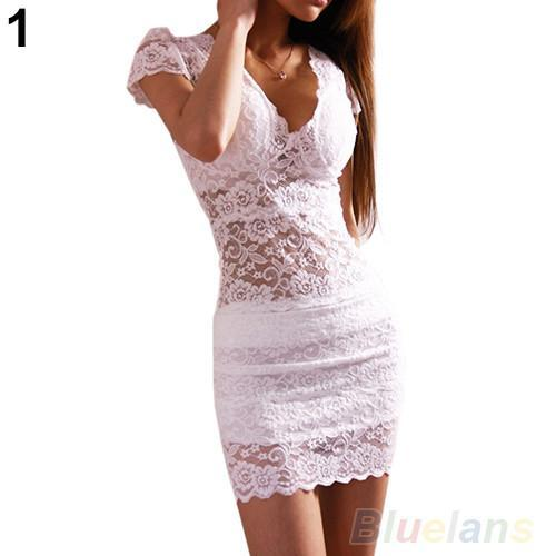 Women's Dresses Short Sleeve V-neck Slim mini Lace 03CO-GKandaa.net