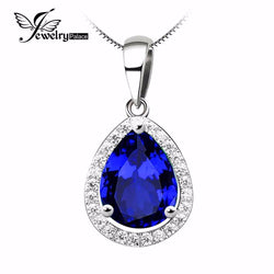 Christmas Gift 7ct Blue Sapphire Gem Stone Pendant Genuine Real Solid 925 Sterling Silver Luxury For Women - GKandAa