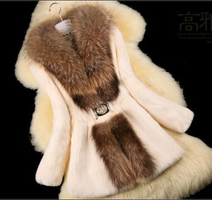 Women Trench ' Nature Rabbit Fur Coat jacket-GKandaa.net