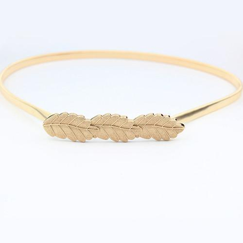 Women Belt Gold Plated Leaf Elastic Ladies Waist Straps BE48-GKandaa.net