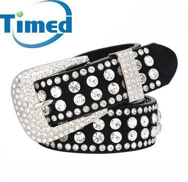 37 inch 2 Colors Rhinestone Studded Leather Belts Cummerbunds With Pin Buckle For Women - GKandAa - 1