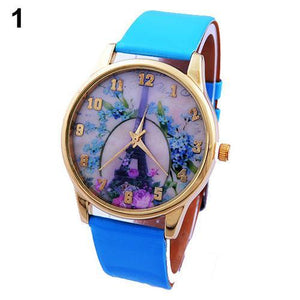 Women Wrist Watch Rose Tower PU Leather 53R6-GKandaa.net