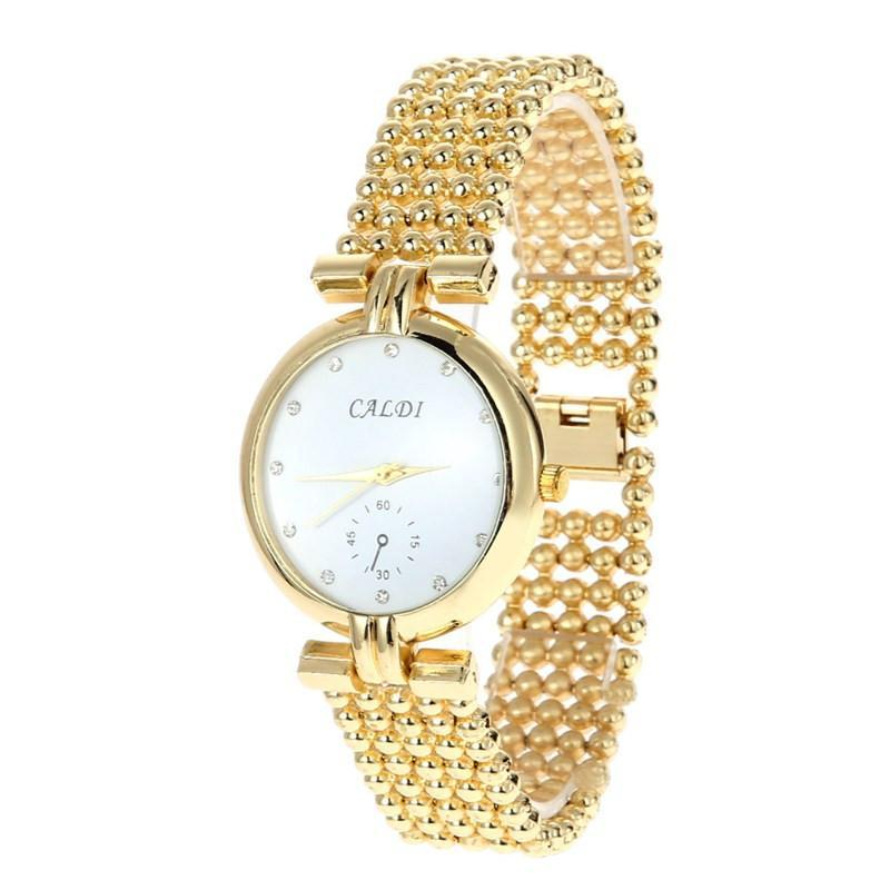 Women Wrist Watch Gold round stainless Steel round-GKandaa.net