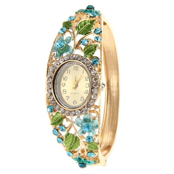 Women Wrist Watch luxury Crystal Bangle Bracelet 6 Colors-GKandaa.net