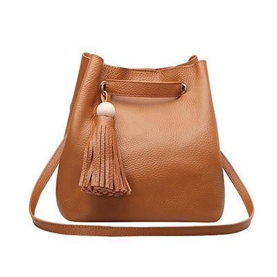 Bucket bag Cowhide Tassel Ladies Satchel-GKandaa.net