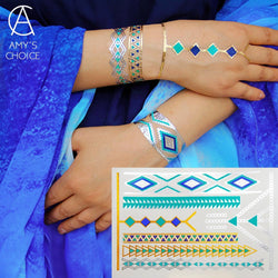 Waterproof Temporary Tattoo Metallic Gold Silver Body Art Flash Tattoo Sticker Free Shipping For Turquoise Gold Bracelet - GKandAa