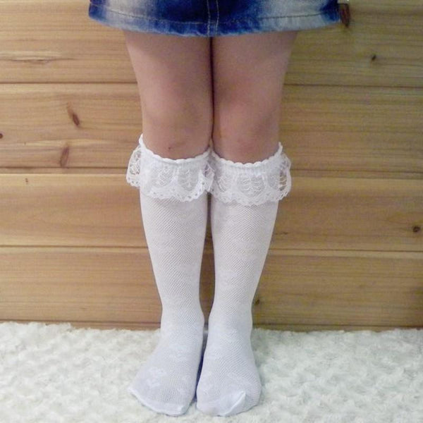 Baby Socks 3-8Y White lace stockings-GKandaa.net