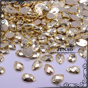Art Supplies 8*12mm Gold Color Acrylic Gems Crystal stones 500 pscanzellina.myshopify.com