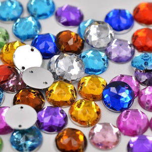 Art Supplies 10mm Mix Color 2 Holes Acrylic round Crystal stones s-GKandaa.net