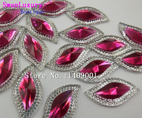 Art Supplies Shape Rose Red 15x30mm Crystal stones-GKandaa.net