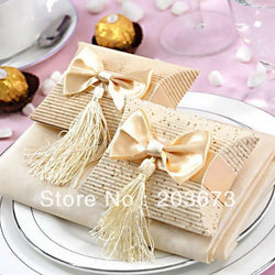 12pcs Beige Paper Pillow Boxes For Gifts,wedding Favors And Gift Bag Tassel,wedding Candy Box Gift Box With Bow And Tassel - GKandAa