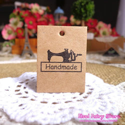300pcs String Included 3x4cm Vintage Sewing Machine Mini Kraft Blank Paper Cards Hang tag Gift tag For Party Favor Bag Box Decor - GKandAa