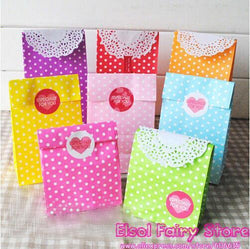 New! Stand up Colorful Polka Dots Paper Bags, 18x9x6cm Party Favor Bag, Open Top Treat Bag Paper Gift Bag, 50pcs - GKandAa