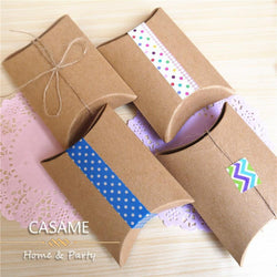 Favor candy Box bag New craft paper Pillow Shape Wedding Favor Gift Boxes pie Party Candy Box bags eco friendly kraft promotion - GKandAa