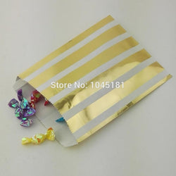 125pcs Small Paper Party Candy Bags 5*7inch Metallic Gold Gift Bags for Wedding Birthday Party Candy Shop - GKandAa