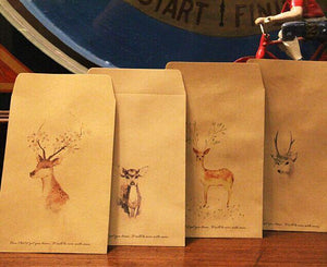 Paper bags for gifts 80pcs - 4 Retro Deer painting Deer Party Favor-GKandaa.net