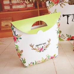 Beautiful flower Food packaging bags with handdle of biscuits box cakes paper portable bags for pastry cookie box Souvenir gifts - GKandAa