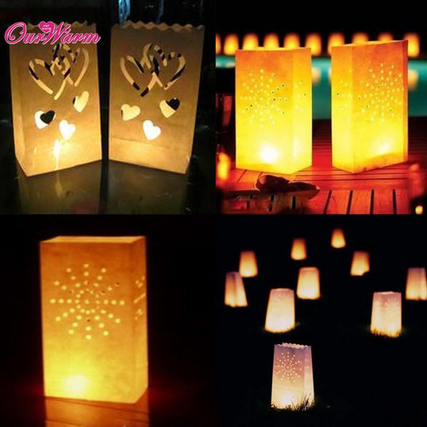 20Pcs/lot Candle Bag Double Heart Tea light Holder Luminaria Paper Lantern for Wedding Decoration Festive Party Supplies - GKandAa