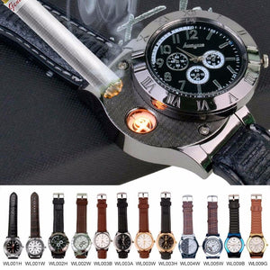 Men's Watches Military USB Lighter Quartz with Flameless Cigar Lighter-GKandaa.net