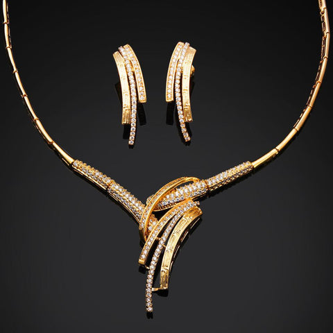 Jewelry Sets N wedding gold plated luxury 2pcs ( necklace + earring )-GKandaa.net