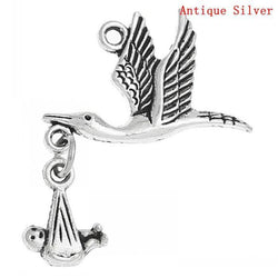 "20PCs Antique Silver Flying Stork W/Dangling Baby in Bundle Charm Pendants 29mm x24mm(1 1/8"" x1"") Mr.Jewelry - GKandAa"