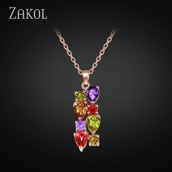 ZAKOL High Quality 18K Rose Gold Plated Necklaces Pendants With Multicolor AAA Cubic Zircon For Women Gift FSNP048 - GKandAa
