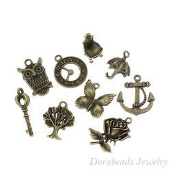 50 Mixed Bronze Tone Charms Pendants 18x17mm - 27x9mm (B13850), yiwu - GKandAa
