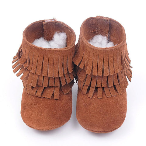 Girls' Winter Boots genuine leather Double fringe suede Tassels - Gkandaa.net