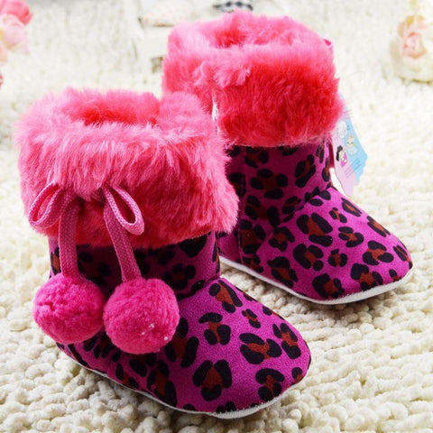 Girls' Winter Boots Leopard Suede Soft Sole Toddler Fleece Velvet Girl-GKandaa.net