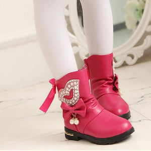 Girls' Winter Boots genuine leather snow warm waterproof 1066 - Gkandaa.net