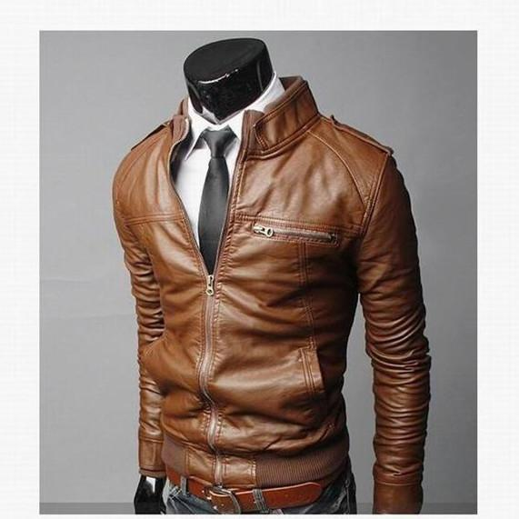 Men's Jackets winter Pu leather Zipper-GKandaa.net